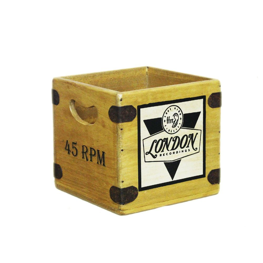 "Retro Record Box 7"" Single Vintage London Records Vinyl Wooden Crate"